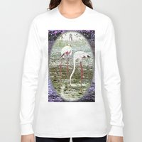 flamingos Long Sleeve T-shirts featuring Flamingos by CrismanArt