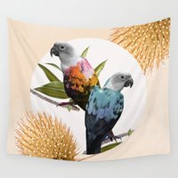 sia Wall Tapestries featuring Sun Conure Parrots by Kangarui by Rui Stalph