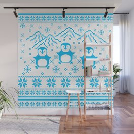 Cute Blue Scandinavian Penguin Holiday Design Wall Mural