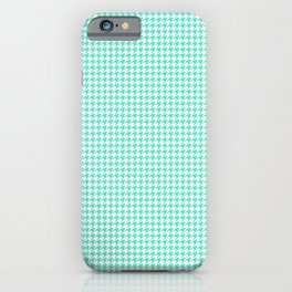 Aqua Blue And White Hounds-tooth Check iPhone Case