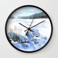 A Winter Study In Blues Wall Clock