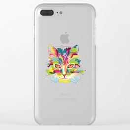 Cat Colorful Variation Clear iPhone Case