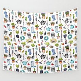 Garden Gear - Spring Gardening Pattern w/ Garden Tools & Supplies Wall Tapestry