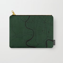 Bangkok Thailand Minimal Street Map - Forest Green and Black Carry-All Pouch