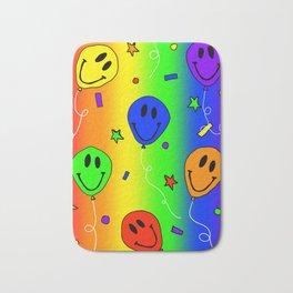 Rainbow Smiling Balloons with Confetti Bath Mat