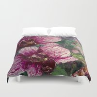 fierce Duvet Covers featuring Fierce Orchid by susanhubenthal