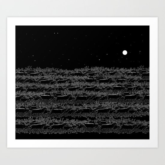 Night belongs to Reindeer Art Print