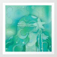mermaid Art Prints featuring Ocean Queen by Graphic Tabby