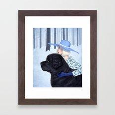 A Girl and Her Dog Framed Art Print