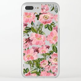 Vintage forest green pink coral bohemian floral Clear iPhone Case