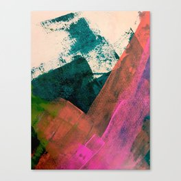 Expand [3]: a colorful, minimal abstract piece in pinks, green, and blue Canvas Print