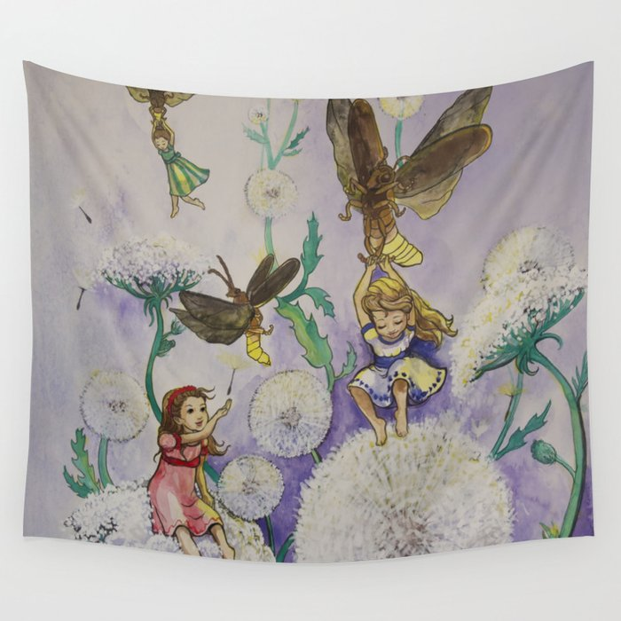 Girls and Fireflies Wall Tapestry