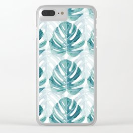 Monstera leaves Jungle leaves Turquoise Tropical Leaves Clear iPhone Case