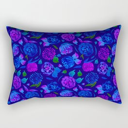 Watercolor Floral Garden in Electric Blue Bonnet Rectangular Pillow