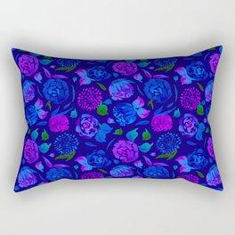Watercolor Floral Garden in Electric Blue Bonnet Rectangular Pillow