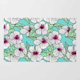 Pink & White Tropical Hibiscus Floral Pattern Rug