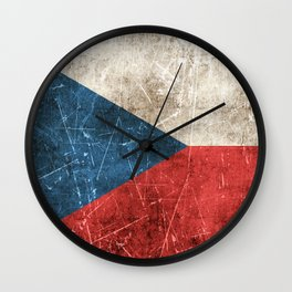 Vintage Aged and Scratched Czech Flag Wall Clock