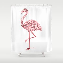 Funky Tribal Flamingo Shower Curtain