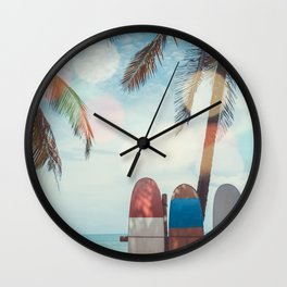 Surf Life Tropical Coastal Landscape Surfboard Scene Wall Clock