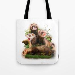 Four Ferrets in Their Wild Habitat Tote Bag