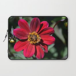 Two Bees on a Red Dahlia Laptop Sleeve