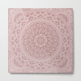 Mandala - Powder pink Metal Print