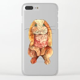 Cute Brown Bunny Rabbit Clear iPhone Case