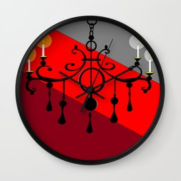 A Chandler with Candles and Red, Maroon and Gray Wall Clock