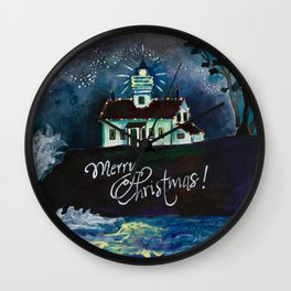 Christmas at Battery Point Lighthouse Wall Clock