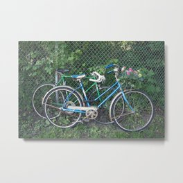 Happy Couples Vintage Bikes with Summer Flowers Metal Print