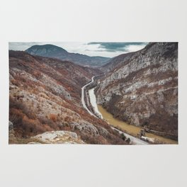Beautiful picture of the canyon in Serbia, with river and the highway in the middle Rug