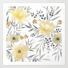 Modern, Floral Prints, Yellow, Gray and White Art Print