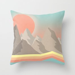 70s Mountains Throw Pillow