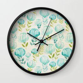 Watercolor Floral Vintage Aqua Blossoms, Hand painted Flowers, Farmhouse Floral Wall Clock