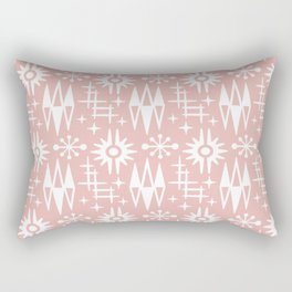 Mid Century Modern Atomic Space Age Pattern Dusty Rose Rectangular Pillow