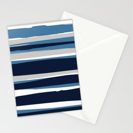 Striped Modern Beach Landscape Blue Grey Stationery Cards