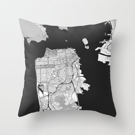 San Francisco Map Gray Throw Pillow