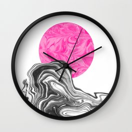Iniko - spilled ink abstract japanese watercolor painting minimal modern black and white marble  Wall Clock