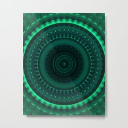Dark and light green tones mandala Metal Print