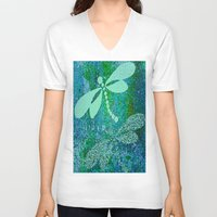 dragonfly V-neck T-shirts featuring Dragonfly  by Saundra Myles