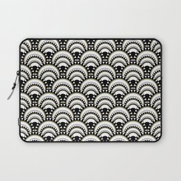 Monochrome and Gold Art Deco Scallops Laptop Sleeve