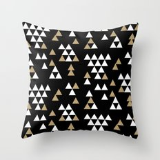 Glitter Triangles - scattered geometric triangles pattern in black gold white Throw Pillow