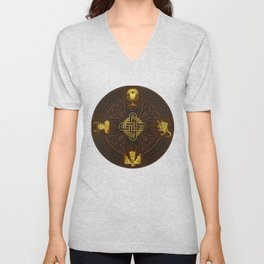 Ilvermorny Knot with House Shields Unisex V-Neck
