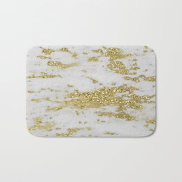 Marble - Glittery Gold Marble on White Design Bath Mat