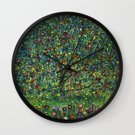 Colorful Poppies and Apple Tree in Orchard landscape by Gustav Klimt Wall Clock