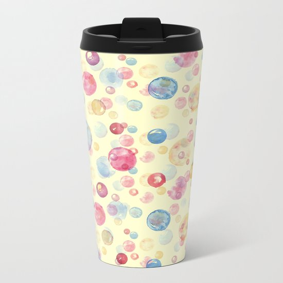 Colorful Watercolors Polka Dots Metal Travel Mug