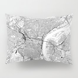 Philadelphia White Map Pillow Sham