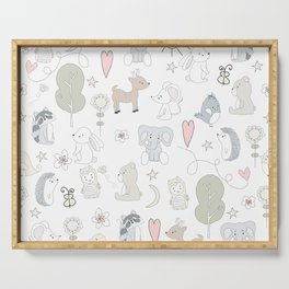 Hand Drawn Cute Animals Serving Tray