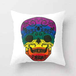 rainbow skull Throw Pillow