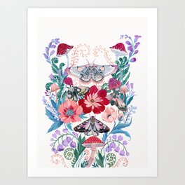 Floral moth painting Art Print